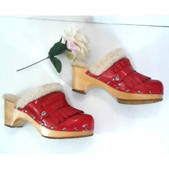 1de2bf3a5f8 Uggs Kiltie Red Patent Leather Clogs Mules Shoes 6